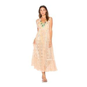 FREE PEOPLE Peach Shine Sheer On Midi Dress M